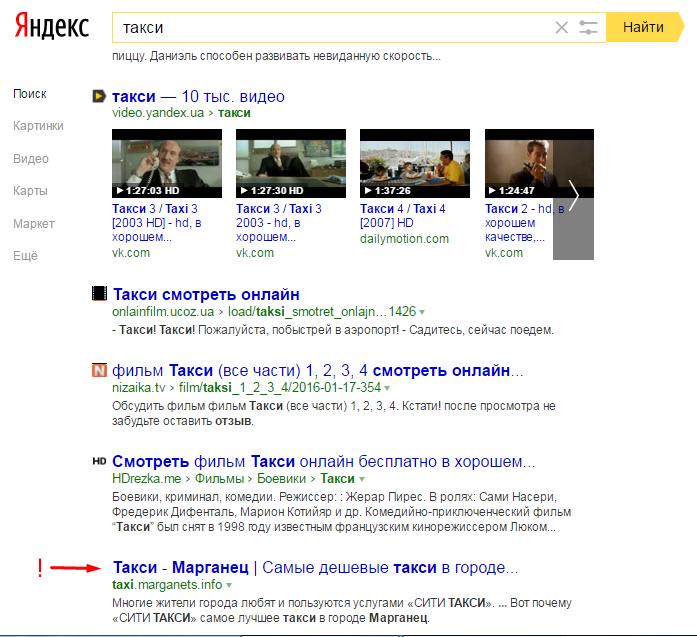 Результаты выдачи Яндекс